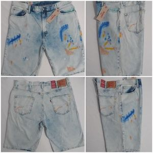 Levis 569 Loose Fit Paint Splatter Jean Shorts